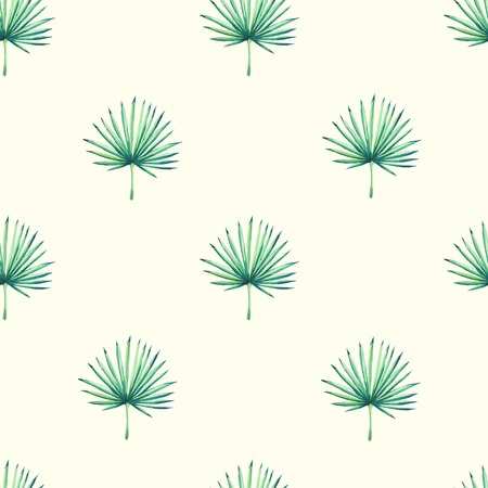 Beautiful seamless background with tropical plant on white. Seamless floral ornament with palm. Background for your design and decor. Illusztráció