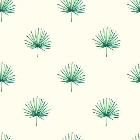 Bellissimo sfondo trasparente con pianta tropicale su bianco. Ornamento floreale senza soluzione di continuità con la palma. Sfondo per il tuo design e l'arredamento. Archivio Fotografico - 44308978