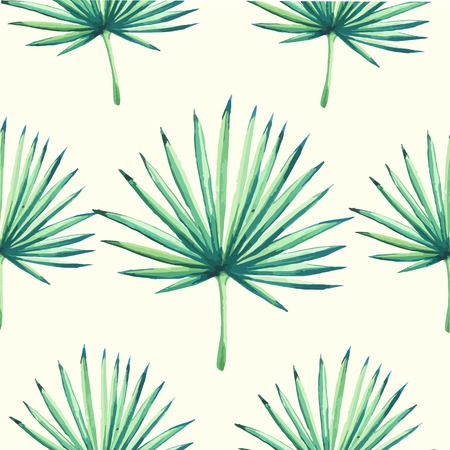 Beautiful seamless background with tropical plant on white. Seamless floral ornament with palm. Background for your design and decor. Ilustração