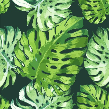 Seamless floral background. Watercolor green pattern with monstera leaves. Handmade painting on a black background.