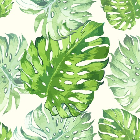 monstera leaf: Seamless floral background. Watercolor green pattern with monstera leaves. Handmade painting on a white background.