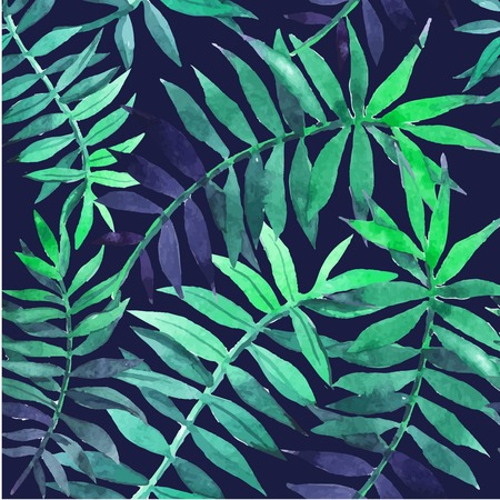 Seamless floral background. Watercolor green pattern with palm leaves. Handmade painting on a white background. Vettoriali