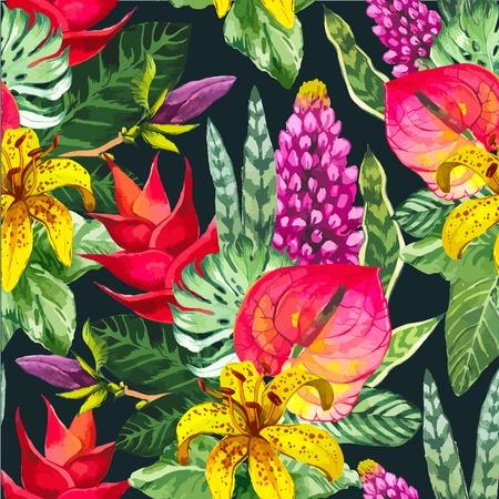 Naadloze bloemenachtergrond. Waterverf groen patroon met gele palmbladen. Handgemaakt schilderij op zwarte achtergrond. Stock Illustratie