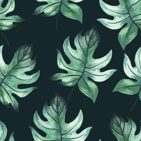 green and black: Seamless floral background. Watercolor green pattern with leaves. Handmade painting on a black background.