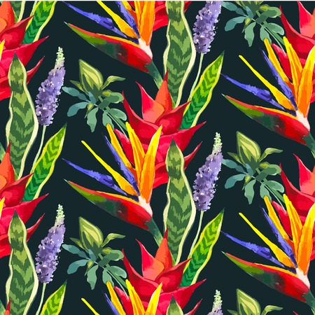 tropical flower: Beautiful seamless background with tropical flowers and plants on black.