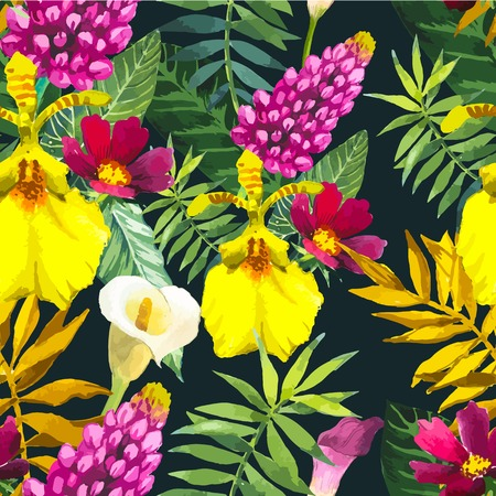 tropical flowers: Beautiful seamless background with tropical flowers and plants on black. Composition with yellow lily, palm and leaves.