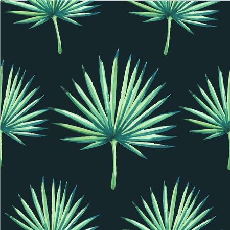 plante tropicale: Beau fond transparente avec plante tropicale sur le noir. Ornement floral pattern avec la paume. Contexte pour votre design et la d�coration. Illustration