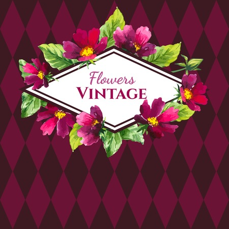 an inflorescence: Beautiful bouquet and sign with burgundy color flowers and plants on dark pink background.
