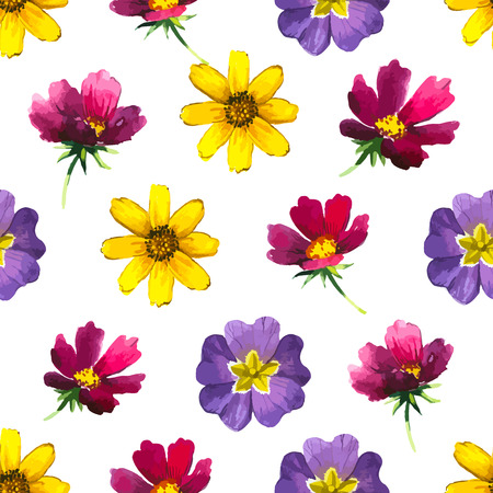 doodling: Watercolor elements for decoration and create your design. Watercolor doodling. Flowers pattern on white background. Illustration