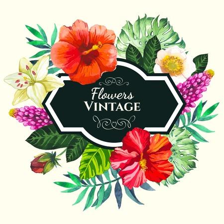 Mooi boeket en bord met tropische bloemen en planten op een witte achtergrond. Compositie met monstera en palmbladeren, witte lelie chinese hibiscus. Stock Illustratie