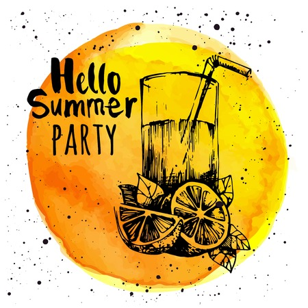 Yellow background with sketch of lemonade. Watercolor circle with the word hello summer party.