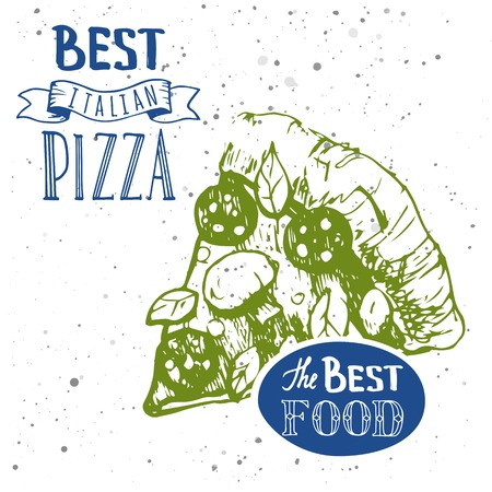 main dishes: Delicious slice of pizza with sausage. Italian traditional food. Restaurant Design. Illustration