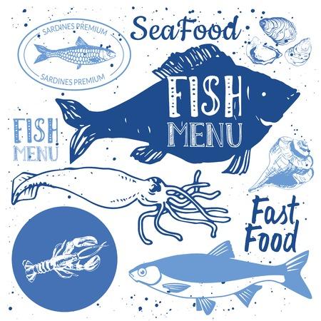 logo poisson: Hand-drawn esquisse. Fruits de mer frais organique: poissons, homards, huîtres, dorado, calmars, palourdes. Restaurant Design.