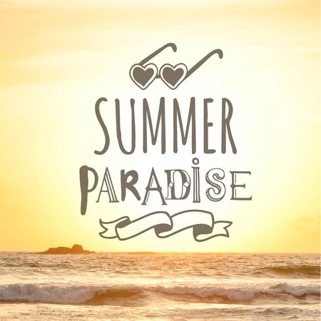 coast: Summer sunset by the sea. Summer paradise. View of the warm summer sea. Illustration