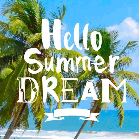 summer trees: Hot tropical beach with palm trees. Hello Summer Dream.