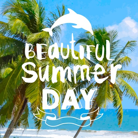 summer day: Hot playa tropical con palmeras. Hermoso d�a de verano. Vectores