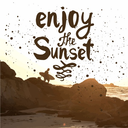 Summer sunset by the sea. Surfer with board on coastal rocks. Enjoy the sunset. Ilustração