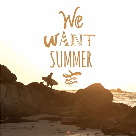 siervo: Verano puesta de sol junto al mar. Surfista con Junta sobre roca costera. Queremos verano.