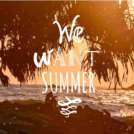 siervo: La puesta del sol de verano junto al mar. Hermosa puesta de sol con siluetas de palmeras. Queremos verano. Vectores