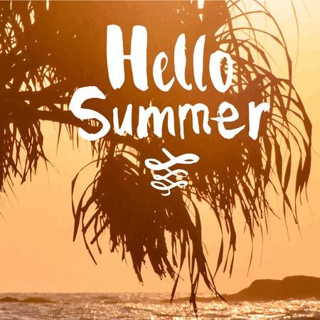 siervo: Verano puesta de sol junto al mar. Hermosa puesta de sol con siluetas de palmeras. Hola Verano.