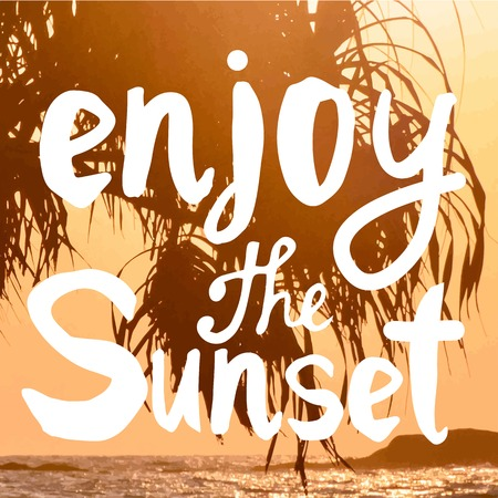 summer trees: Summer sunset by the sea. Beautiful sunset with silhouettes of palm trees. Enjoy the sunset.
