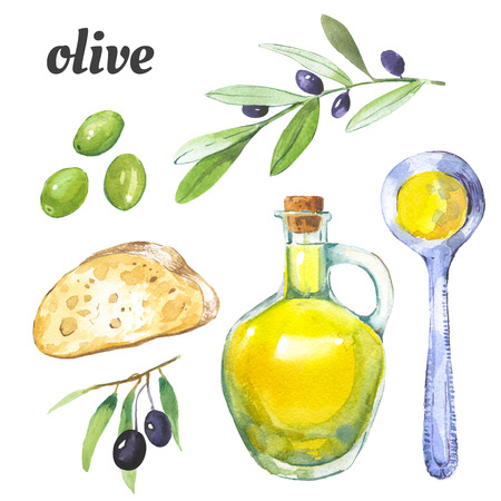 olive: Watercolor illustration of a painting technique with watercolor food. Stock Photo