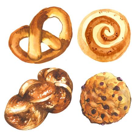 buns: Watercolor illustration of fresh organic baking. Dessert pastries. Stock Photo
