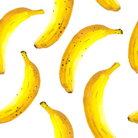 Fresh organic food.  Banana yellow background. Painting style.