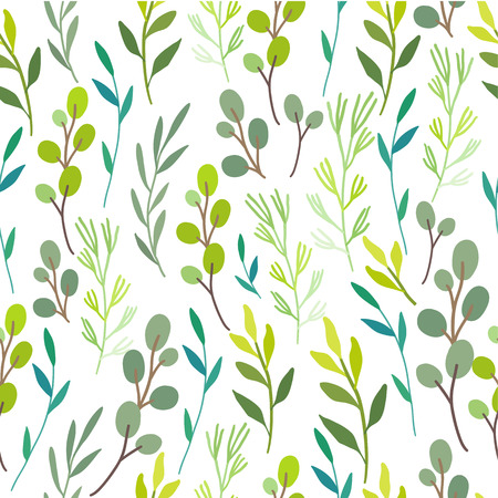 Seamless floral background. Green pattern with leaves. Forest topic Ilustração