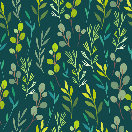 Seamless floral background. Green pattern with leaves. Forest topic Vettoriali