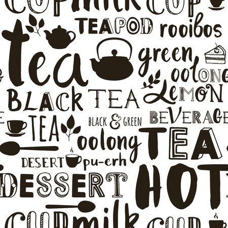 cups of coffee: Vector tea illustration with hand drawn alphabet. Black and white. Letters of the alphabet written with a brush.