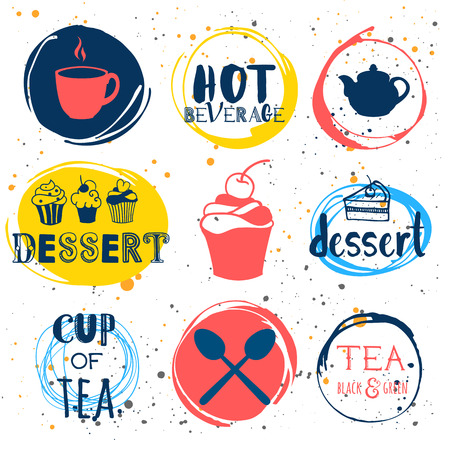 tea hot drink: Funny symbols with cup, spoon and teapot. Traditions of tea time. Decorative elements for your design.
