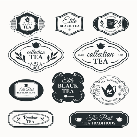 Simple symbols with cup and teapot. Traditions of tea time. Decorative elements for your design. Black and white. Illustration
