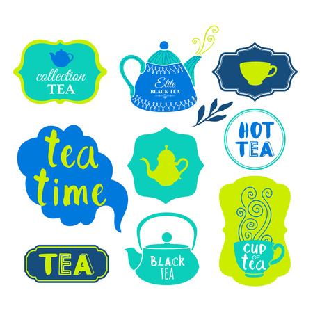 calligraphic: Funny symbols with cup, spoon and teapot. Traditions of tea time. Decorative elements for your design.