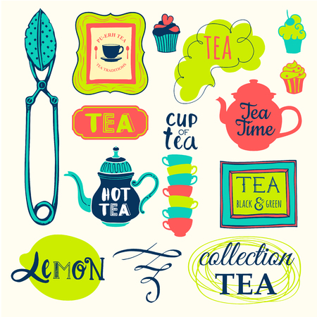traditions: Funny symbols with cup, spoon and teapot. Traditions of tea time. Decorative elements for your design.