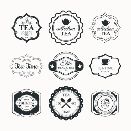 packaging design: Simple symbols with cup and teapot. Traditions of tea time. Decorative elements for your design. Black and white. Illustration