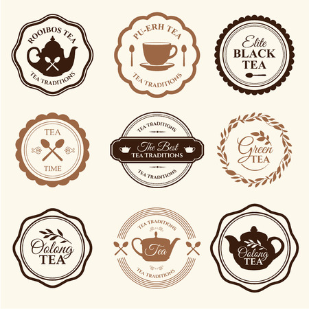 traditions: Simple symbols with cup and teapot. Traditions of tea time. Decorative elements for your design. Illustration