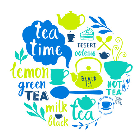 tea party: Decorative elements for your packing design. Lettering and silhouettes.