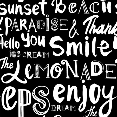 white smile: Vector illustration with hand drawn alphabet. Letters of the alphabet written with a brush on black background. Different words on the topic of the summer.
