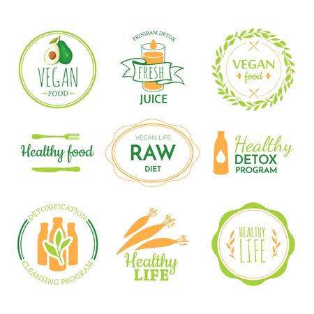 saludable logo: Dieta de alimentos crudos. Estilo de vida saludable y una nutrición adecuada. Vector de la etiqueta. Logo de desintoxicación.
