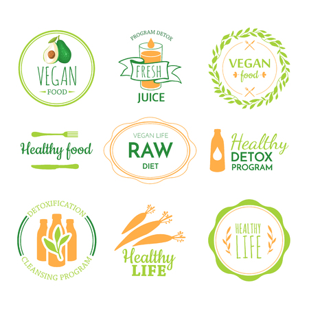 Raw food diet. Healthy lifestyle and proper nutrition. Vector label. Detox logo. Ilustracja