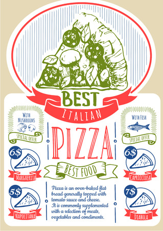 italian sausage: Delicious slice of pizza with sausage. The best Italian pizza. Sketch style.
