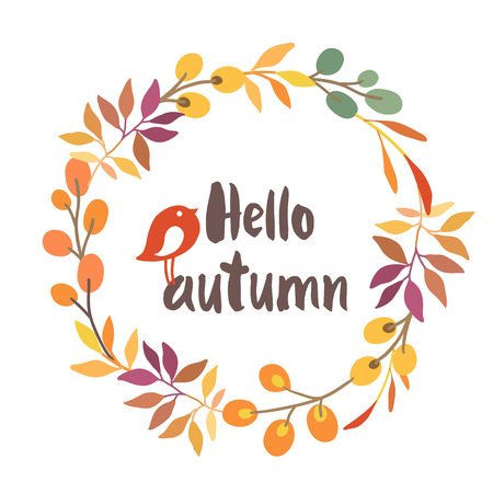 autumn flowers: Vector illustration on white background with floral frame. Illustration