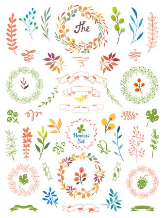 花のフレームと白の背景にベクトル イラスト。あなたの装飾のための手描きデザイン要素です。