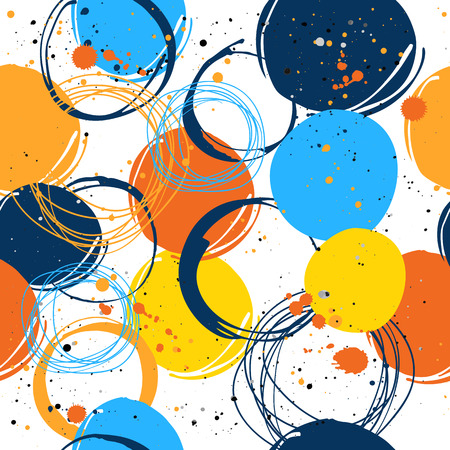 spatters: Vector illustration of the graphic elements of the round form. Colorful pattern: orange, blue and yellow.