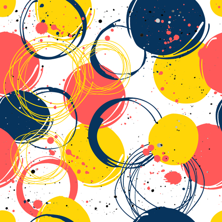 dirt background: Vector illustration of the graphic elements of the round form. Colorful pattern: red, blue and yellow. Illustration
