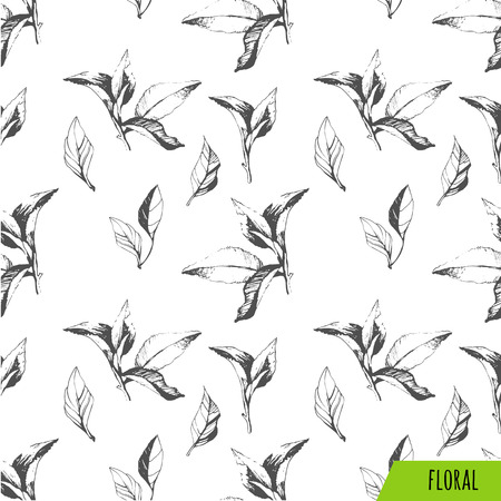 ink: Vector green and white pattern. Floral pattern. Green pattern with tea leaves. Illustration