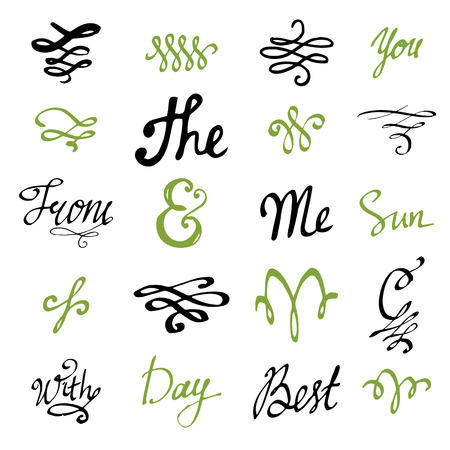 decoration elements: Design set of elements for book decoration. Small words,