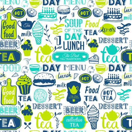 schwarz: Menü-Muster. Vector Illustration mit lustigen Essen Beschriftung und Etiketten auf weißem Hintergrund. Dekorative Elemente für Ihre Verpackungsdesign. Grüne Farben.