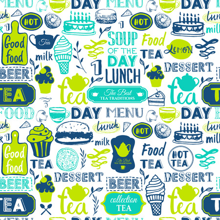 Menu patroon. Vector Illustratie met grappig voedsel letters en etiketten op een witte achtergrond. Decoratieve elementen voor uw verpakking ontwerp. Groene kleuren.